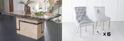 Urban Deco Venice 160cm Cream Marble Dining Table and 6 Lion Head Light Grey Chairs with Chrome Legs