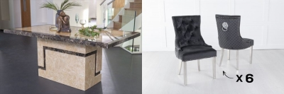 Urban Deco Venice 180cm Cream Marble Dining Table and 6 Lion Head Black Chairs with Chrome Legs