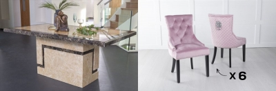 Urban Deco Venice 180cm Cream Marble Dining Table and 6 Lion Head Pink Chairs