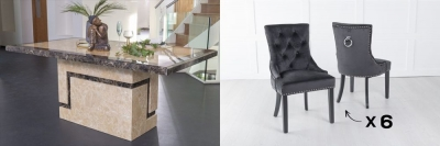 Urban Deco Venice 160cm Cream Marble Dining Table and 6 Knockerback Black Chairs