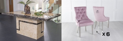 Urban Deco Venice 160cm Cream Marble Dining Table and 6 Knockerback Pink Chairs with Chrome Legs