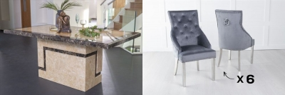 Urban Deco Venice 160cm Cream Marble Dining Table and 6 Large Knockerback Grey Chairs with Chrome Legs