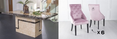 Urban Deco Venice 160cm Cream Marble Dining Table and 6 Large Knockerback Pink Chairs