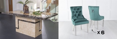 Urban Deco Venice 200cm Cream Marble Dining Table and 6 Knockerback Green Chairs with Chrome Legs