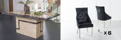 Urban Deco Venice 200cm Cream Marble Dining Table and 6 Large Knockerback Black Chairs with Chrome Legs