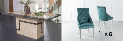 Urban Deco Venice 200cm Cream Marble Dining Table and 6 Large Knockerback Green Chairs with Chrome Legs