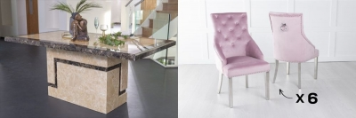 Urban Deco Venice 200cm Cream Marble Dining Table and 6 Large Knockerback Pink Chairs with Chrome Legs