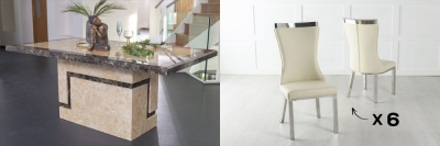 Urban Deco Venice 160cm Cream Marble Dining Table and 6 Maison Cream Chairs