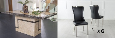 Urban Deco Venice 200cm Cream Marble Dining Table and 6 Maison Black Chairs