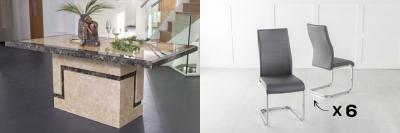 Urban Deco Venice 160cm Cream Marble Dining Table and 6 Malibu Dark Grey Chairs
