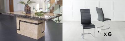 Urban Deco Venice 200cm Cream Marble Dining Table and 6 Malibu Black Chairs