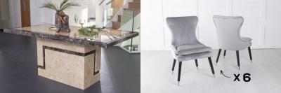 Urban Deco Venice 160cm Cream Marble Dining Table and 6 Mason Light Grey Chairs