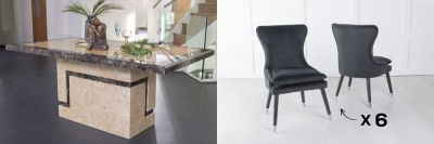Urban Deco Venice 200cm Cream Marble Dining Table and 6 Mason Black Chairs