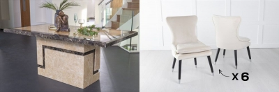 Urban Deco Venice 200cm Cream Marble Dining Table and 6 Mason Champagne Chairs