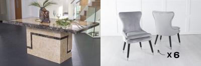 Urban Deco Venice 200cm Cream Marble Dining Table and 6 Mason Light Grey Chairs