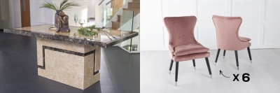 Urban Deco Venice 200cm Cream Marble Dining Table and 6 Mason Pink Chairs