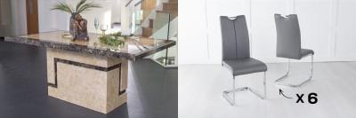 Urban Deco Venice 180cm Cream Marble Dining Table and 6 Nikko Dark Grey Chairs