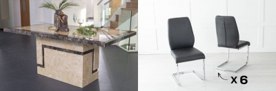 Urban Deco Venice 160cm Cream Marble Dining Table and 6 Oslo Black Chairs