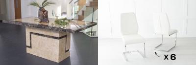 Urban Deco Venice 160cm Cream Marble Dining Table and 6 Oslo Cream Chairs