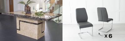 Urban Deco Venice 200cm Cream Marble Dining Table and 6 Oslo Dark Grey Chairs