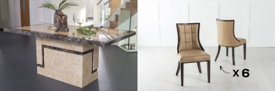 Urban Deco Venice 200cm Cream Marble Dining Table and 6 Paris Biege Chairs
