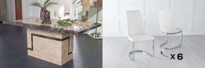 Urban Deco Venice 180cm Cream Marble Dining Table and 6 Phoenix Cream Chairs