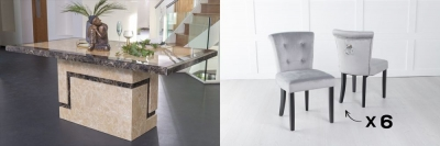 Urban Deco Venice 200cm Cream Marble Dining Table and 6 Sandringham Light Grey Chairs