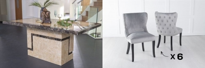 Urban Deco Venice 180cm Cream Marble Dining Table and 6 Vera Light Grey Chairs