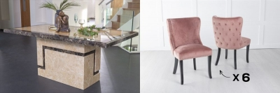 Urban Deco Venice 180cm Cream Marble Dining Table and 6 Vera Pink Chairs
