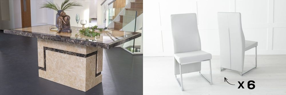 Urban Deco Venice 160cm Cream Marble Dining Table and 6 Enzo Light Grey Chairs