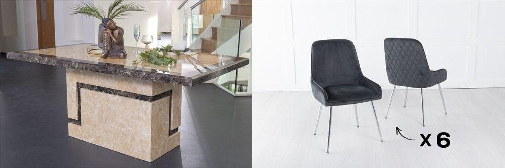 Urban Deco Venice 180cm Cream Marble Dining Table and 6 Hamilton Black Chairs