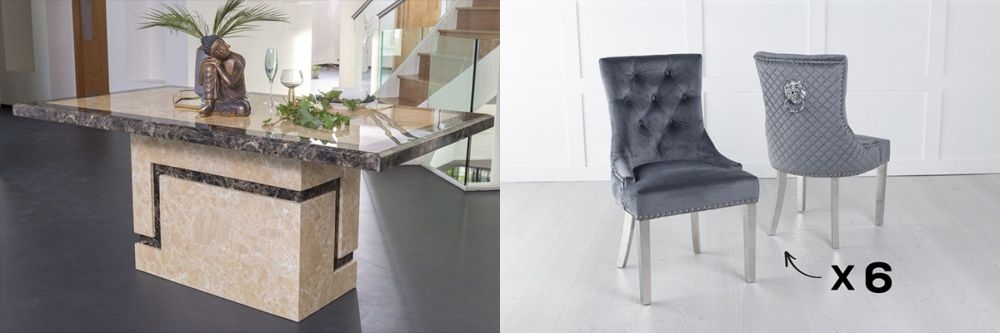 Urban Deco Venice 160cm Cream Marble Dining Table and 6 Lion Head Grey Chairs with Chrome Legs
