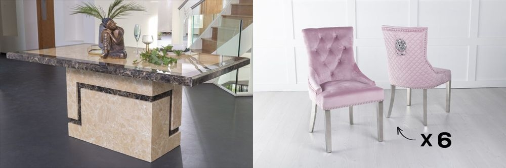 Urban Deco Venice 160cm Cream Marble Dining Table and 6 Lion Head Pink Chairs with Chrome Legs