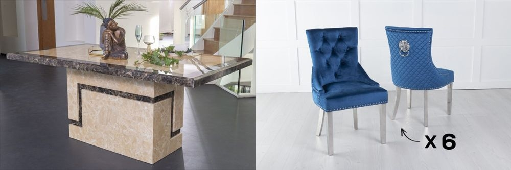 Urban Deco Venice 200cm Cream Marble Dining Table and 6 Lion Head Blue Chairs with Chrome Legs