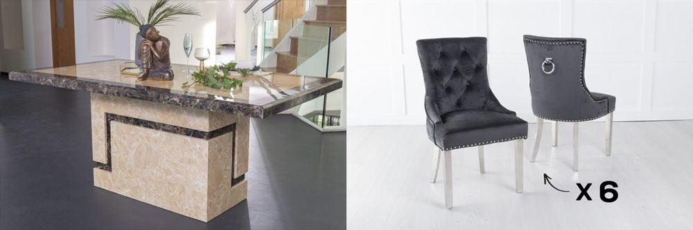 Urban Deco Venice 160cm Cream Marble Dining Table and 6 Knockerback Black Chairs with Chrome Legs