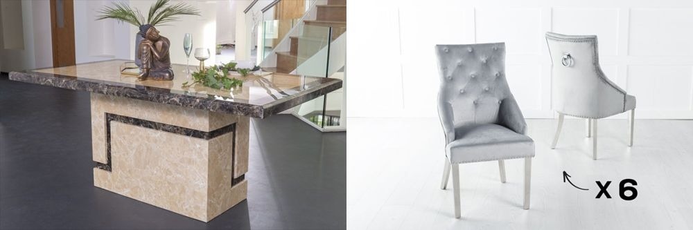 Urban Deco Venice 160cm Cream Marble Dining Table and 6 Large Knockerback Light Grey Chairs with Chrome Legs