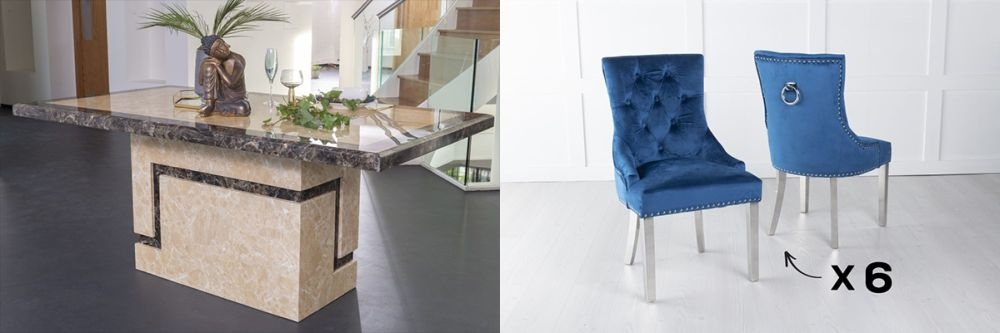 Urban Deco Venice 200cm Cream Marble Dining Table and 6 Knockerback Blue Chairs with Chrome Legs