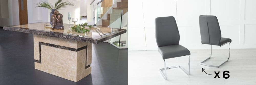 Urban Deco Venice 160cm Cream Marble Dining Table and 6 Oslo Dark Grey Chairs
