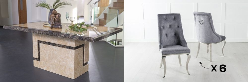 Urban Deco Venice 160cm Cream Marble Dining Table and 6 Premiere Grey Chairs