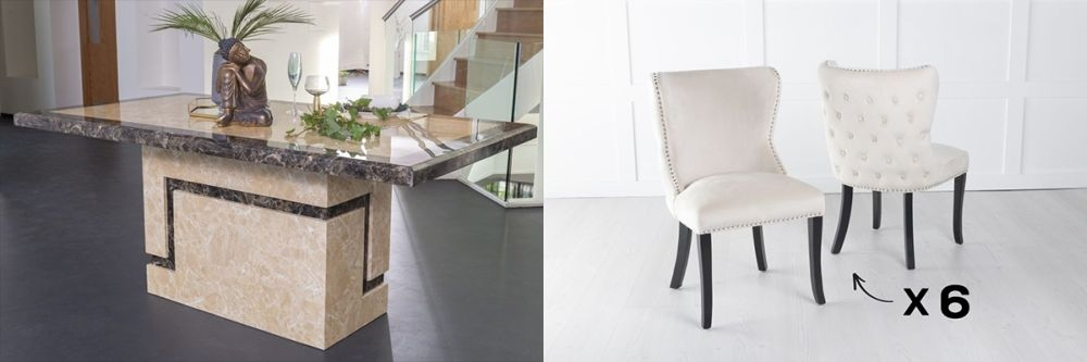 Product photograph showing Urban Deco Venice 200cm Cream Marble Dining Table And 6 Vera Champagne Chairs