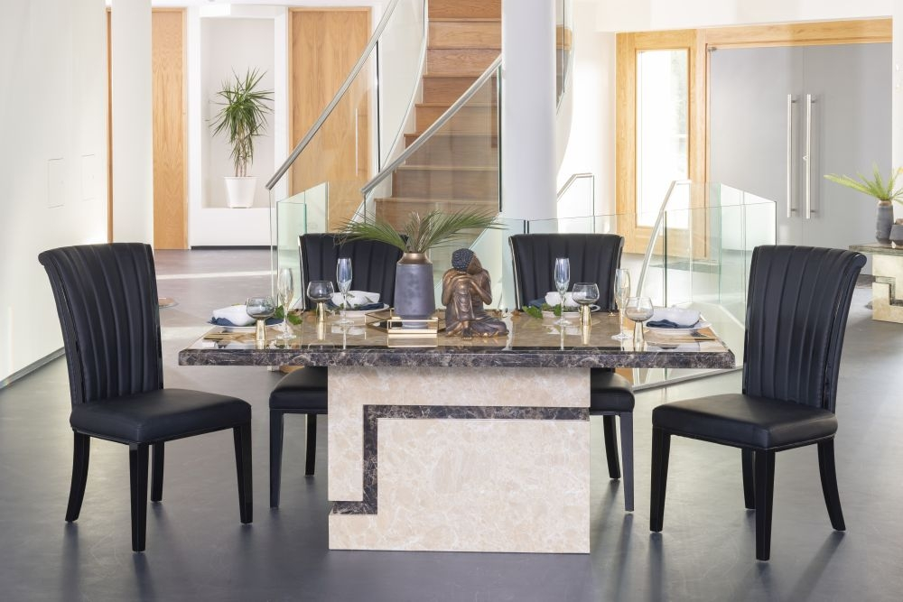 Urban Deco Venice Cream Marble 160cm Rectangular Dining Set with Cadiz Black Chairs