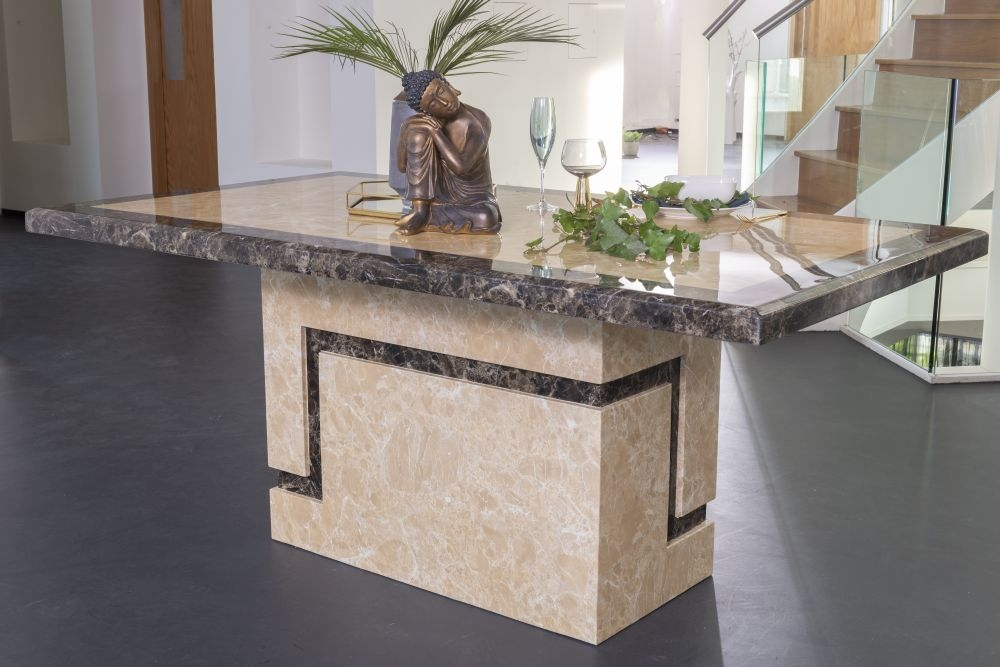Urban Deco Venice 160cm Cream Marble Dining Table