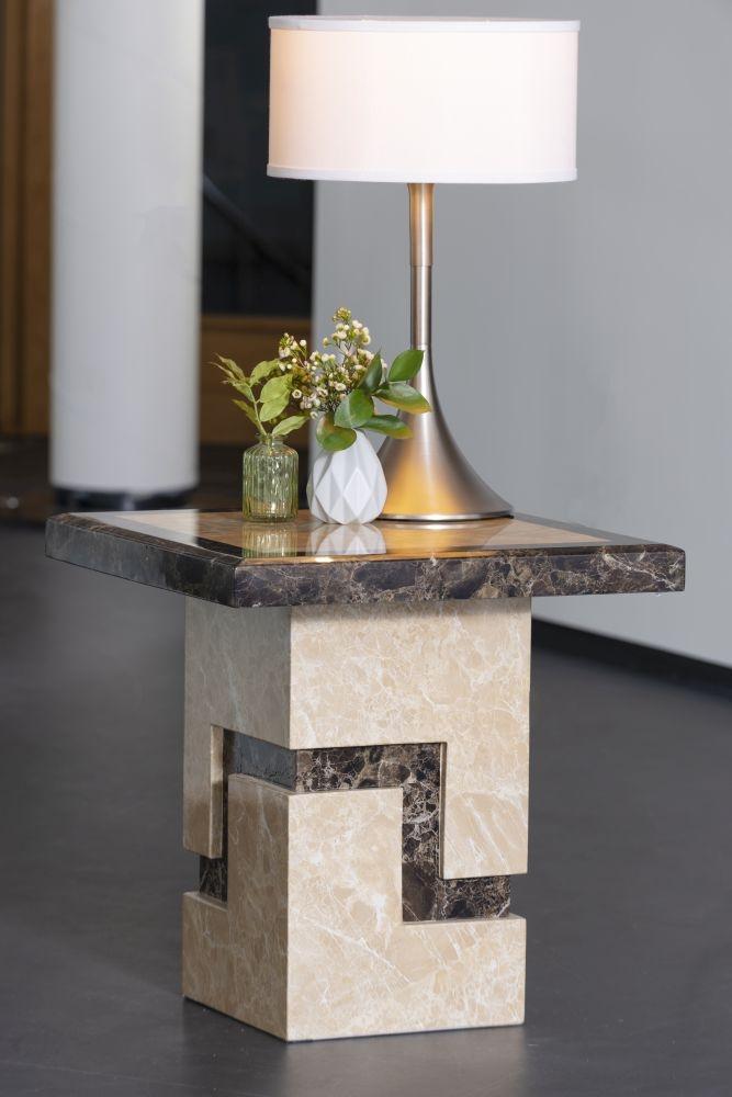 Urban Deco Venice Cream Marble Lamp Table