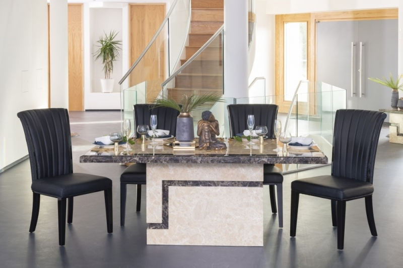 Buy Urban Deco Venice Cream Marble 160cm Dining Table with 4 Cadiz Black Chairs and Get 2 Extra Chairs Worth £298 for FREE