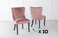Set of 10 Vera Pink Velvet Back Tufted Dining Chair with Black Legs