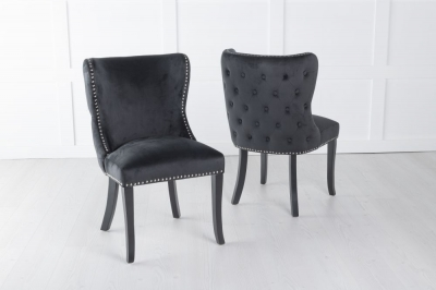 Vera Black Velvet Back Tufted Dining Chair with Black Legs