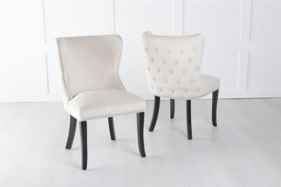 Vera Champagne Velvet Back Tufted Dining Chair with Black Legs