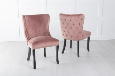 Vera Pink Velvet Back Tufted Dining Chair with Black Legs