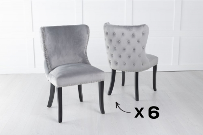 Set of 6 Vera Light Grey Velvet Back Tufted Dining Chair with Black Legs