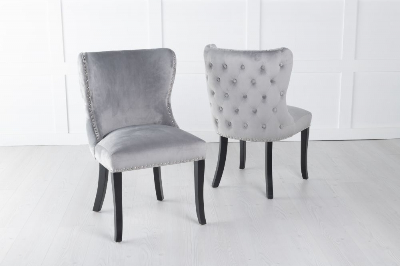 Vera Light Grey Velvet Back Tufted Dining Chair with Black Legs